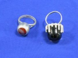Spratling Silver and Hardstone Ring and a 1960s Silver Seima Ring.