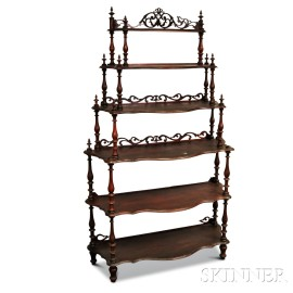 Victorian Carved Mahogany Six-tier Whatnot
