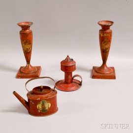Pair of Tole Candlesticks, a Chamberstick, and a Miniature Teapot.     Estimate $200-250