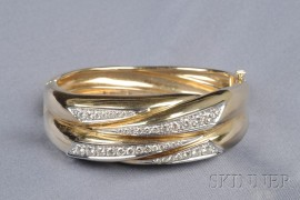 14kt Bicolor Gold and Diamond Bangle Bracelet