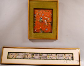 Two Framed Silk Embroideries