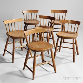 Assembled Set of Six Low-back Shaker Dining Chairs