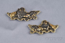 Pair of 18kt Gold and Mixed Metal Pendant/Brooches, Gump