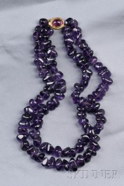Double-strand Amethyst Bead Necklace, Gump