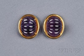 18kt Gold and Amethyst Earclips, Gump