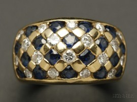 18kt Gold, Sapphire, and Diamond Basketweave Ring