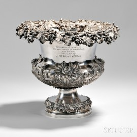 The Morgan Cup Sterling Silver Repousse Wine Cooler Awarded to the Schooner Sachem