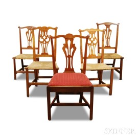 Five Chippendale Maple Side Chairs