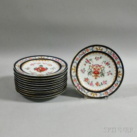 Set of Twelve French Armorial Porcelain Plates