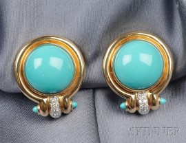 18kt Gold, Turquoise and Diamond Earclips