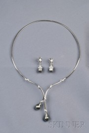 18kt White Gold, Tahitian Pearl, and Diamond Suite