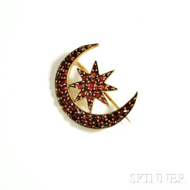 9kt Gold and Garnet Crescent and Star Brooch