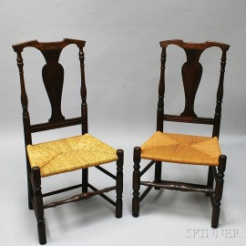 Near Pair of Queen Anne Stained Maple Side Chairs