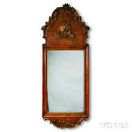 Northern European Rococo-style Carved and Gilt Walnut Mirror