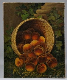 American School, 19th Century      Still Life with Overturned Basket of Peaches