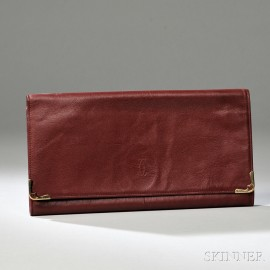 Vintage le Must de Cartier Maroon Leather Envelope Clutch