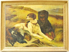 British School, 19th/20th Century      Two Hunting Dogs with Game Birds in an Autumn Landscape