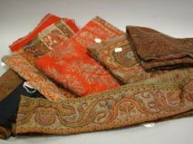 Six Woven Paisley Textiles and Fragments.