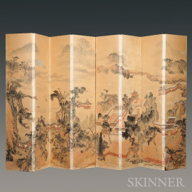 Two Four-panel Painting Screens