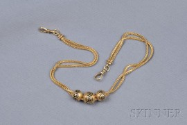 Antique 14kt Gold Fob Chain and Slides