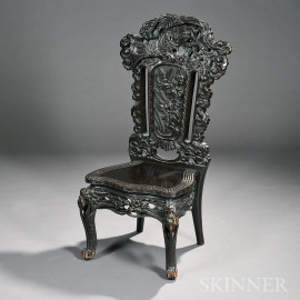 Asian-style Carved Side Chair