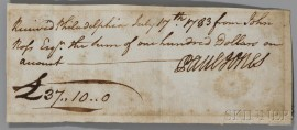 Jones, John Paul (1747-1792) Signed Receipt, Philadelphia, 17 July 1783.