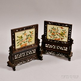 Pair of Small Openwork Table Screens with Plaques