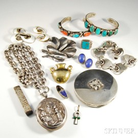 Group of Mostly Sterling Silver Jewelry and Accessories