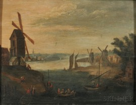 Attributed to Eduard Dubois (Flemish, 1619-1697)      Coastal View with Windmills and Vessels