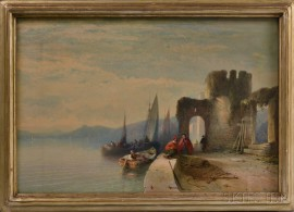 Aaron Edwin Penley (British, 1807-1870)      Boats and Figures at Rest by a Quai with Ruins