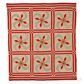 """Red and White """"Princess Feather"""" Patchwork Quilt"""