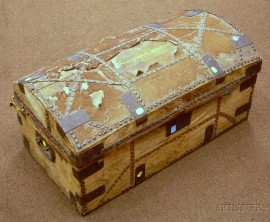 Early 19th Century Iron-mounted Hide-clad Dome-top Trunk.