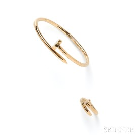 "18kt Gold ""Juste Un Clou"" Bracelet and Ring, Aldo Cipullo, Cartier"