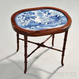 Staffordshire Blue Transfer-printed Pearlware Platter on Stand