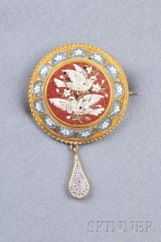 Antique 18kt Gold and Micromosaic Brooch, Rome