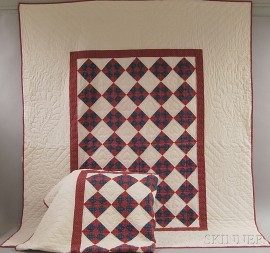 Pair of Amish Cotton Nine-patch Twin Quilts