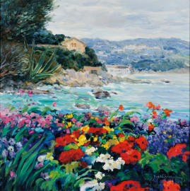 George Malva (Syrian, b. 1957)      Flower Garden and Rocky Cove