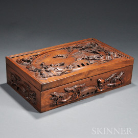 Wood Box with Hinged Cover