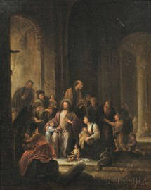 School of Pieter de Witte, the Elder, also known as Peter Candid (Dutch, 1548-1628)      Christ Receiving the Children