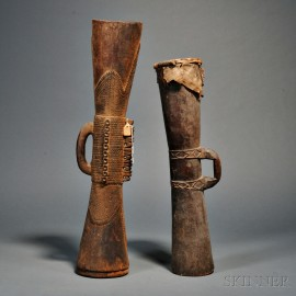 Two New Guinea Carved Wood Kundu Drums