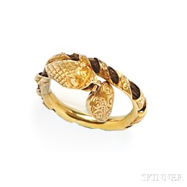 Antique Gold and Hairwork Snake Ring