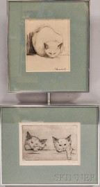 American School, 20th Century      Two Framed Works Depicting Cats: Two Cats Peering Over a Ledge