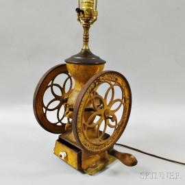Yellow-painted Cast Iron Landers, Frary & Clark Coffee Grinder