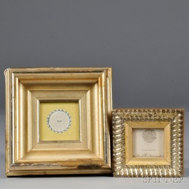 Two Small Micrography Items, 19th century, a love token with tiny watercolor flower and blue diamond border, and one of the Lords Pray