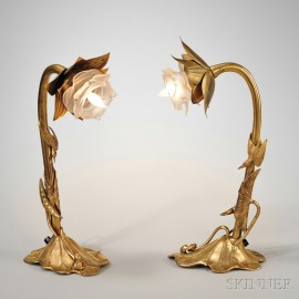 Pair of Art Nouveau Gold-plated Table Lamps