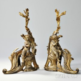 Pair of Louis XV-style Gilt-bronze Chenet