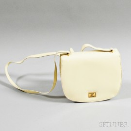 Moschino Cream Patent Leather Shoulder Bag