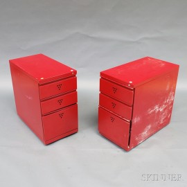 Pair of Modern Red File Cabinets
