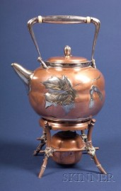 Tiffany & Co. Aesthetic Movement Copper and Sterling Teapot with Associated Stand