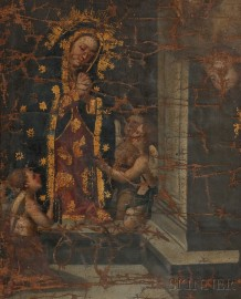 Spanish Colonial School, 18th/19th Century      Madonna with Angels Holding Symbols of Christ